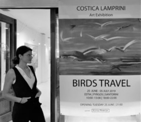 "2019, ""Birds Travel"", Estia Pyrgos Kallisti Exhibition Hall of Pyrgos Square, Santorini, island of Cyclades, Greece."